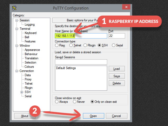 raspberry_ip_address_putty
