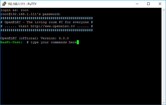 connect_ssh_openelec_putty_commandline